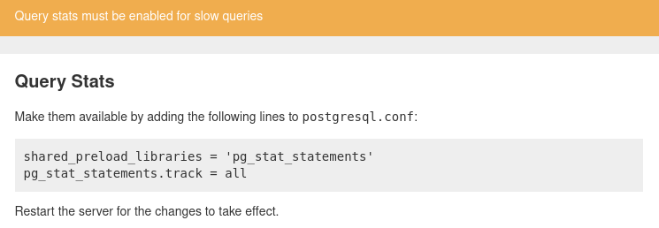 A screenshot of the pghero interface displaying a hint about configuring postgres to enable query statistics.