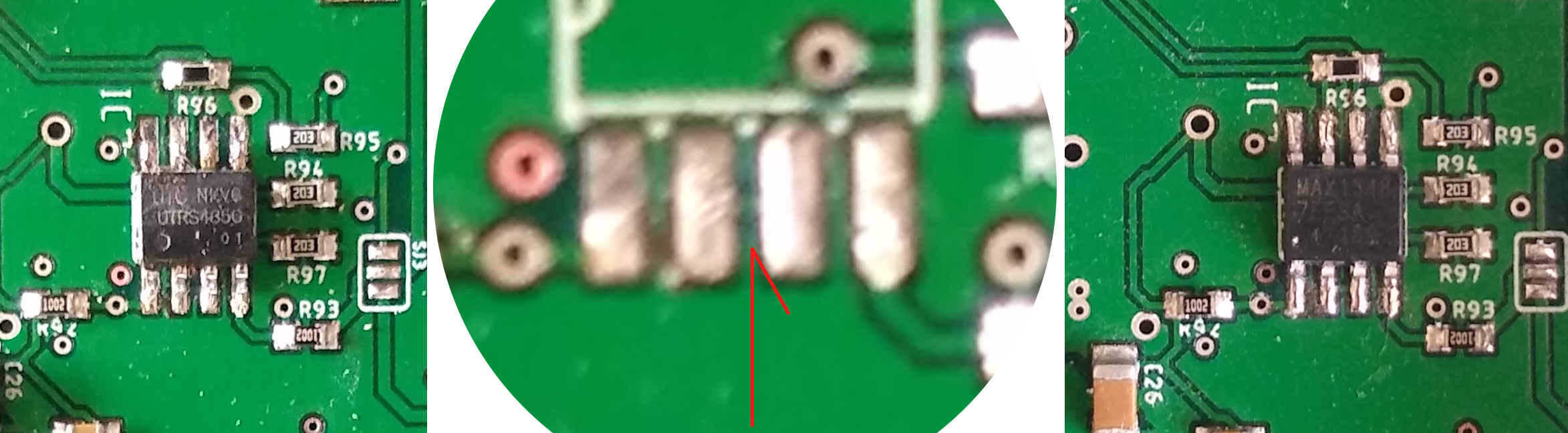 A series of images, from the left to right: the original UTRS485G IC, IC removed with the detail to the pins 2 and 3 confirming they are connected on the PCB, the new MAX13487E IC soldered in place