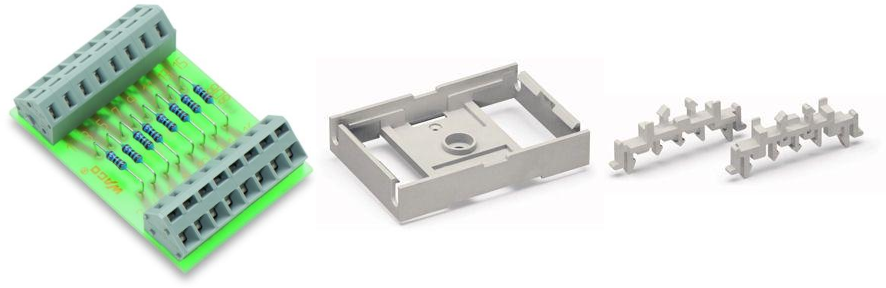 A pre-made component for a DIN rail containing 8 resistors and terminals for them.