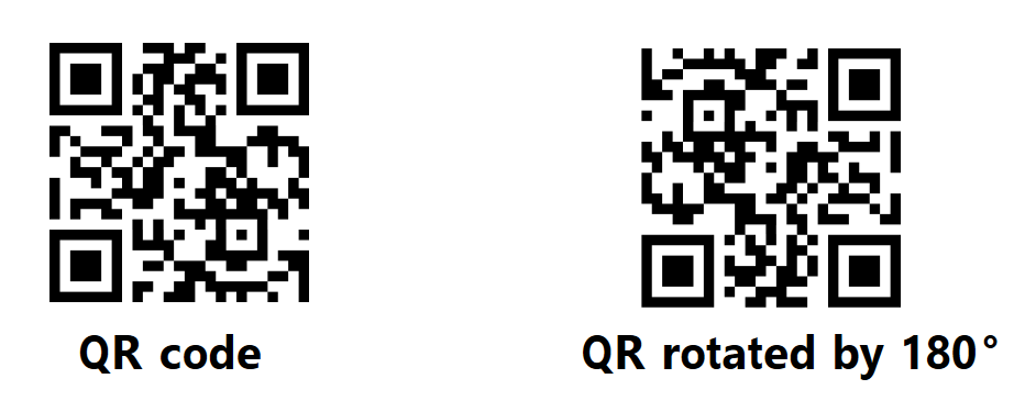 A QR code without a rotation on the left and the QR code rotated by 180 degrees on the right