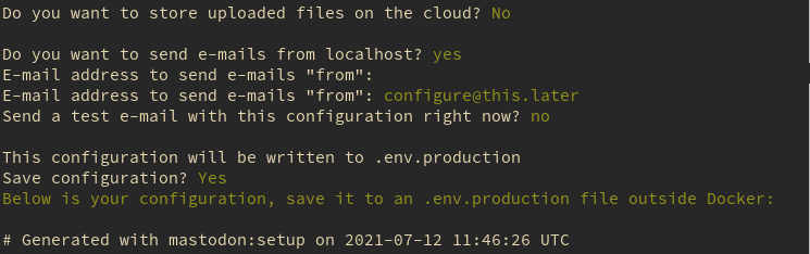 """Store uploaded files in cloud: No, Send e-mails from localhost: Yes, Send e-mail """"from"""": Enter, Send a test email now: No, Save configuration: Yes"""