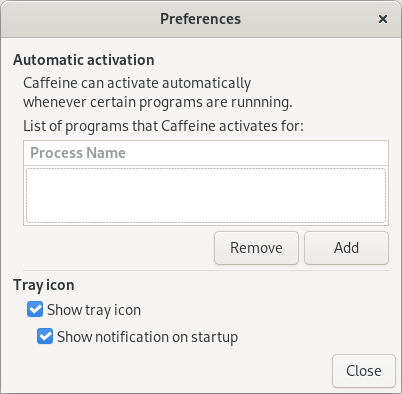 The caggeine Preferences dialog without any explicit apps